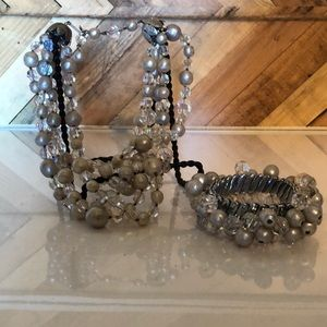 Vintage Beaded Necklace & Accordion Cuff Bracelet